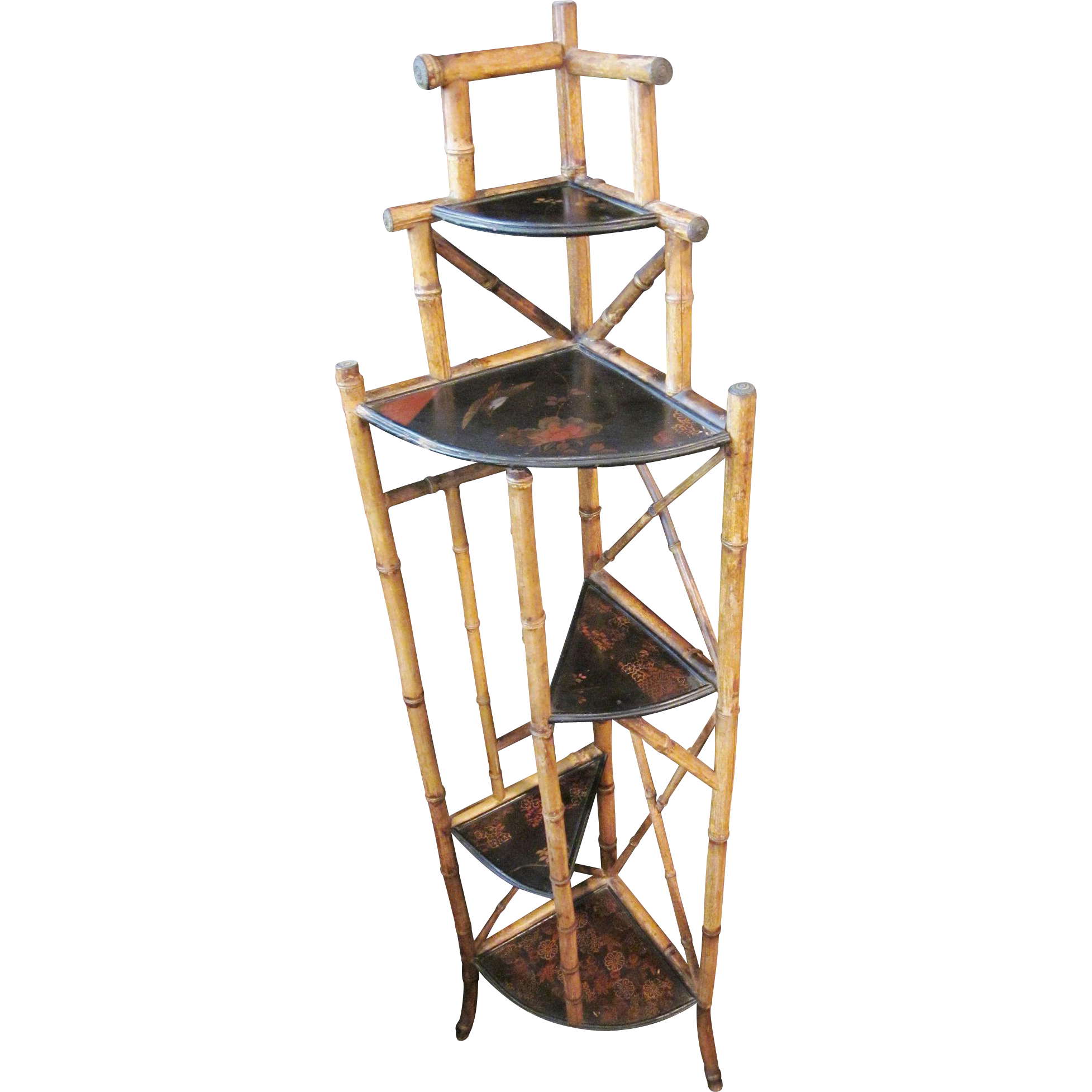 Antique 19th C. Art Nouveau Bamboo and Chinoiserie Corner Etagere