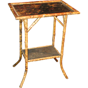Antique Art Nouveau 19th C. Bamboo and Chinoiserie Side Table