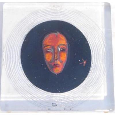 Bertil Vallien Art Glass Block ft. Multi-Colored Face for Kosta Boda Gallery