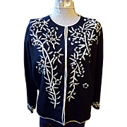 Vintage Stephen Chu Black and White Beaded Sweater Made In Hong Kong Size Small
