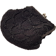 French Art Deco Black Seed Bead Mermaid Fish Scale Purse