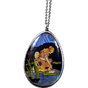 Victorian Lady In A Lily Pad Garden Painted Cameo Blue Morpho Butterfly Wing Necklace Sterling Silver England