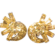Clip on Rhinestone Earrings: Designed by H. Bogoff: Designer Jewelry: