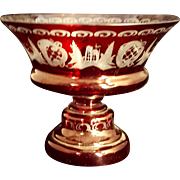 Bohemian Ruby Red cut to clear Tazza Compote Stemmed Bowl Centerpiece