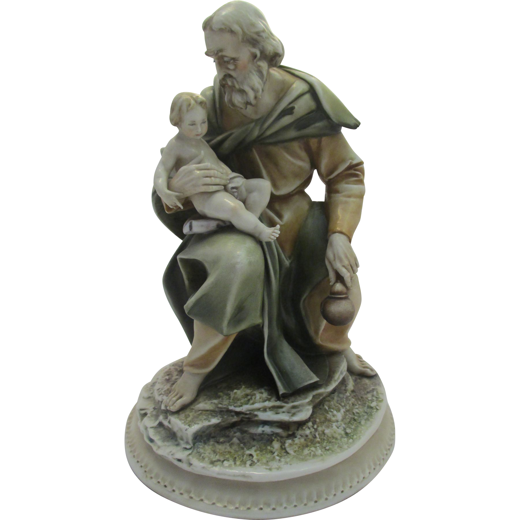 "Large Borsato Porcelain Figural Group Titled ""Joseph with Baby Jesus"""