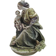 "Large Borsato Porcelain Figural Group Titled ""Madonna and Child"""