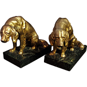 Brass Hound Dog Bookends On Green Marble Bases - Vintage Dog Bookends