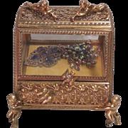 Vintage Brass and Glass Jewelry Casket with Cherubs