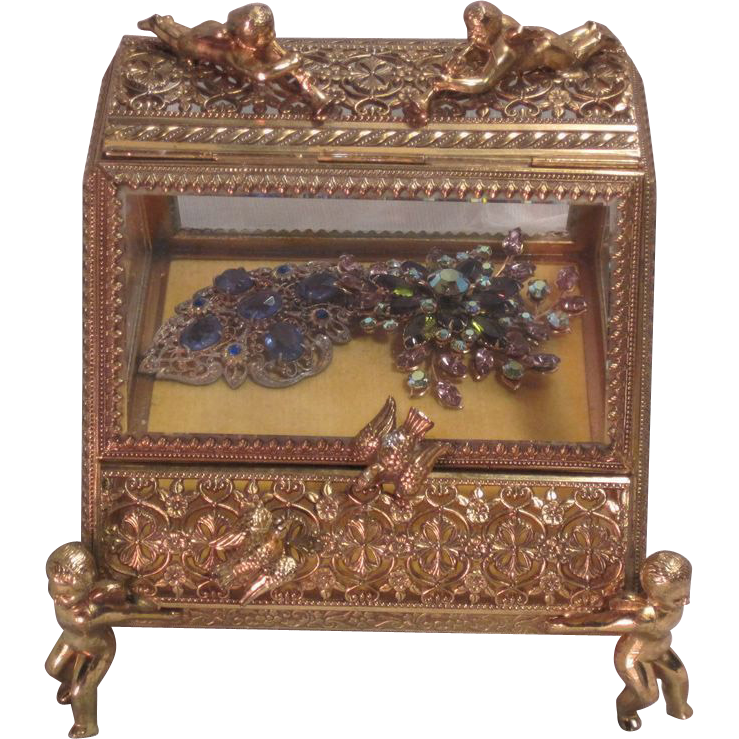Vintage Brass and Glass Jewelry Casket with Cherubs