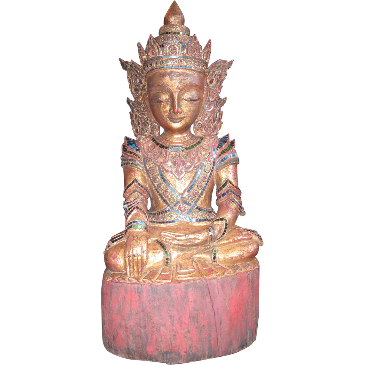 Large Wooden Early 20th c. Buddha Sculpture, Gilt Finish with Mirrored Tiles