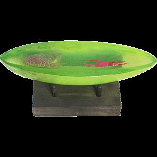 Bertil Vallien Art Glass Green Boat with Figure, Stand Incl, from Kosta Boda Gallery, Ltd Ed.