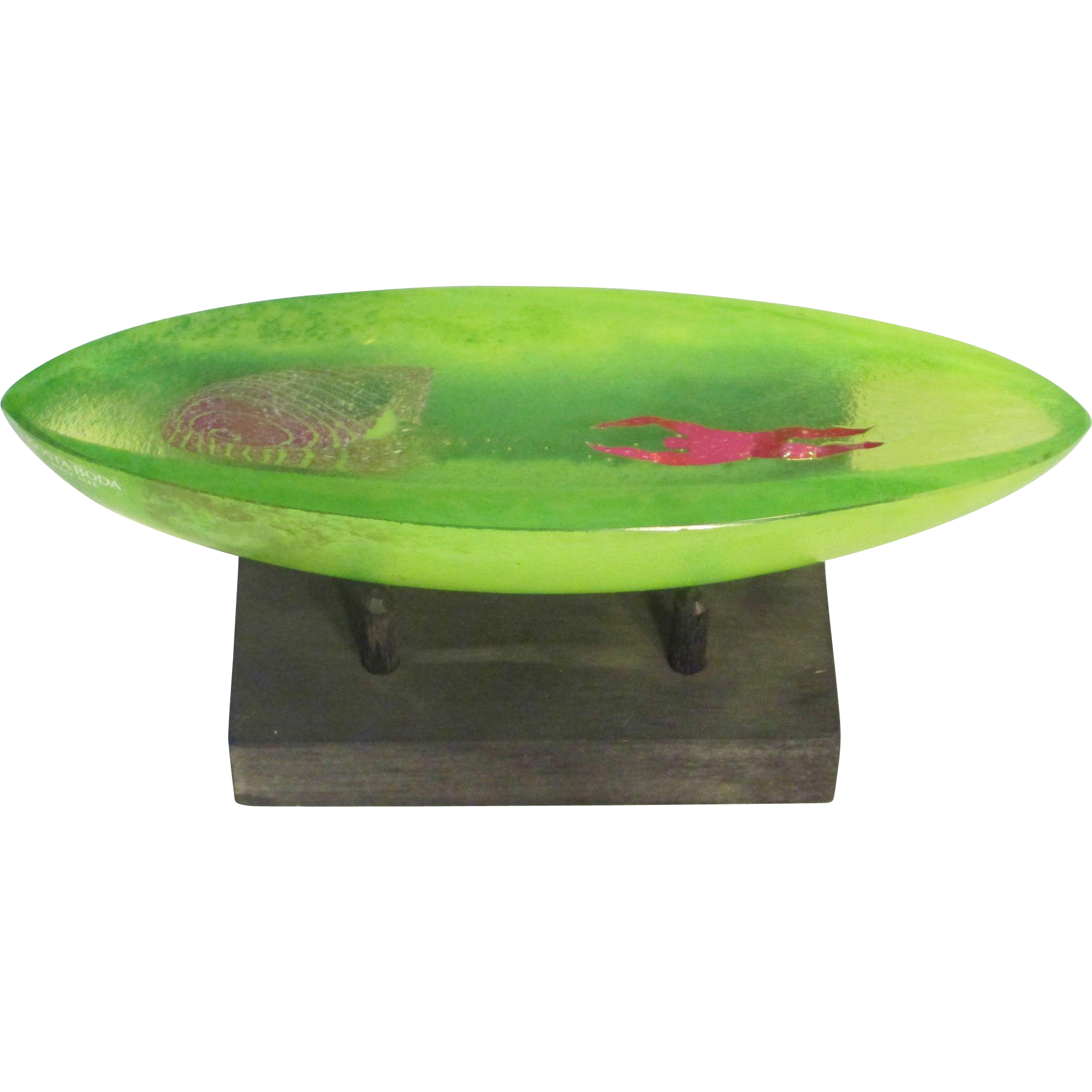 Bertil Vallien Art Glass Green Boat with Figure, Stand Incl, from Kosta Boda Gallery, Ltd Ed.