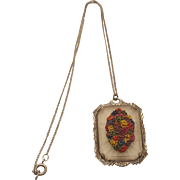Art Deco Camphor Glass Colorful Floral Bouquet Lalique Style Frosted Glass Silvertone Pendant Necklace
