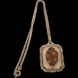 Art Deco Camphor Glass Colorful Floral Bouquet Lalique Style Frosted Glass Silvertone Pendant Necklace