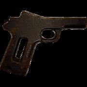 Antique Cast Iron Paperweight Fake Gun Prop Toy Folk Art Display Piece