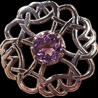 Irish Celtic Love Knot Gaelic Amethyst Sterling Silver Pin Brooch
