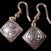 Vintage Celtic Irish Trinity Knot Sterling Silver Pierced Dangle Hanging Earrings