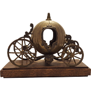 Italian Cinderella Pumpkin Carriage Made in Italy Metal on Wood Base
