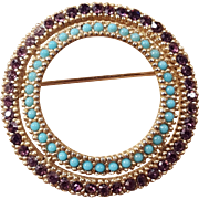 Vintage Ciner Purple and Blue Amethyst and Faux Turquoise Rhinestone Pin Brooch