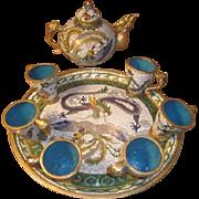 Hold for Virginia! Vintage Asian Cloisonne and Blue Enameled Tea set - Teapot, Teacups, Tea tray