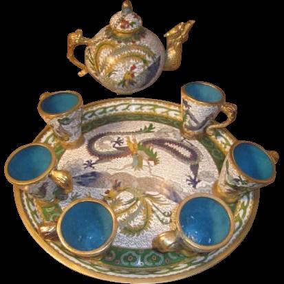 Vintage Asian Cloisonne and Blue Enameled Tea set - Teapot, Teacups, Tea tray