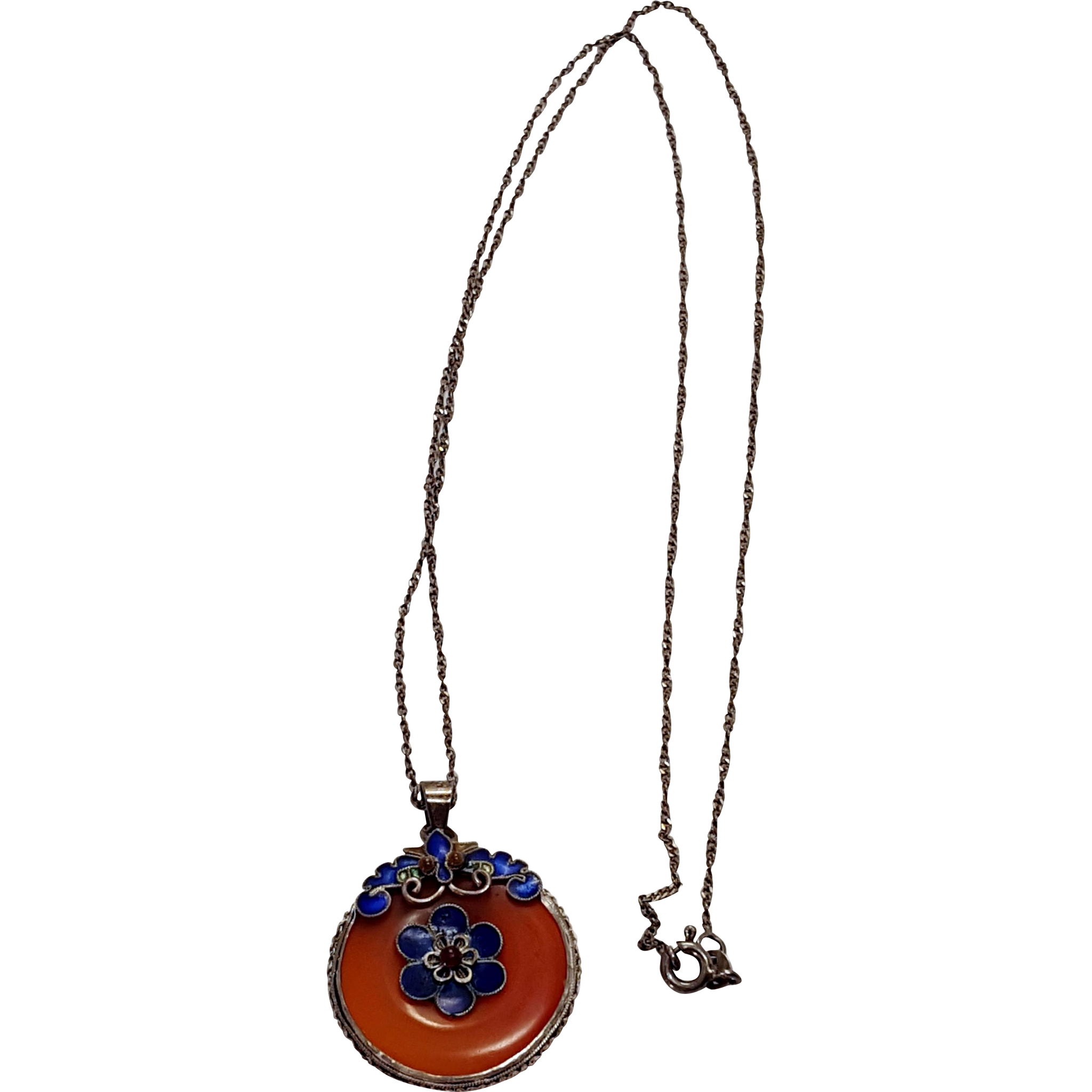 Sterling Carnelian Cloisonné Enameled Pendant Necklace on Sterling Chain