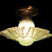 Art Deco Consolidated Glass Modernizer Ceiling Fixture  Rare Green color