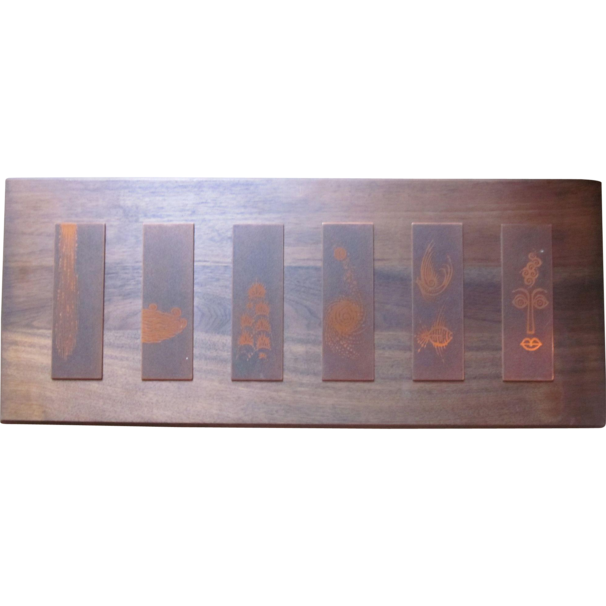 MCM Engraved Copper plaques mounted on Wood - Art