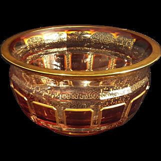 Beautiful Bohemian Moser Cranberry Crystal Bowl