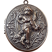 Vintage Silver Plated Cupid Cherub Angel Large Locket Pendant