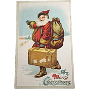 C. F. Sander Vintage Hitchhiking Santa Unwritten Unused Postcard