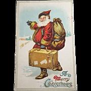 C. F. Sander Vintage Hitchhiking Santa Unwritten Unused Postcard