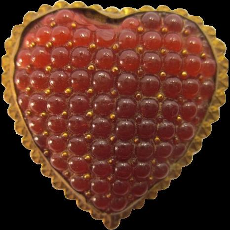 Antique Czech Glass Heart Pin