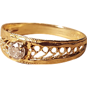 14k Gold Solitaire Diamond Filigree Vintage Promise, Engagement, or Wedding Ring Size 8