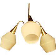 Danish Modern MCM Milk Glass Three Light Brass Chandelier