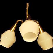 Danish Modern MCM Milk Glass Three Light Brass Chandelier