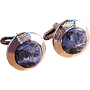Dante Scalloped Edge Brushed Silver Vintage Lapis Cufflink Set