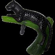 Daum Glass Pate de Verre Black Panther Sculpture