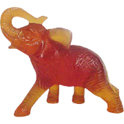 Daum Crystal Amber Elephant
