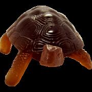 Daum Pate De Verre Amber Art Glass Turtle/Tortoise