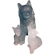 Daum France Pate de Verre Wolf with Cubs