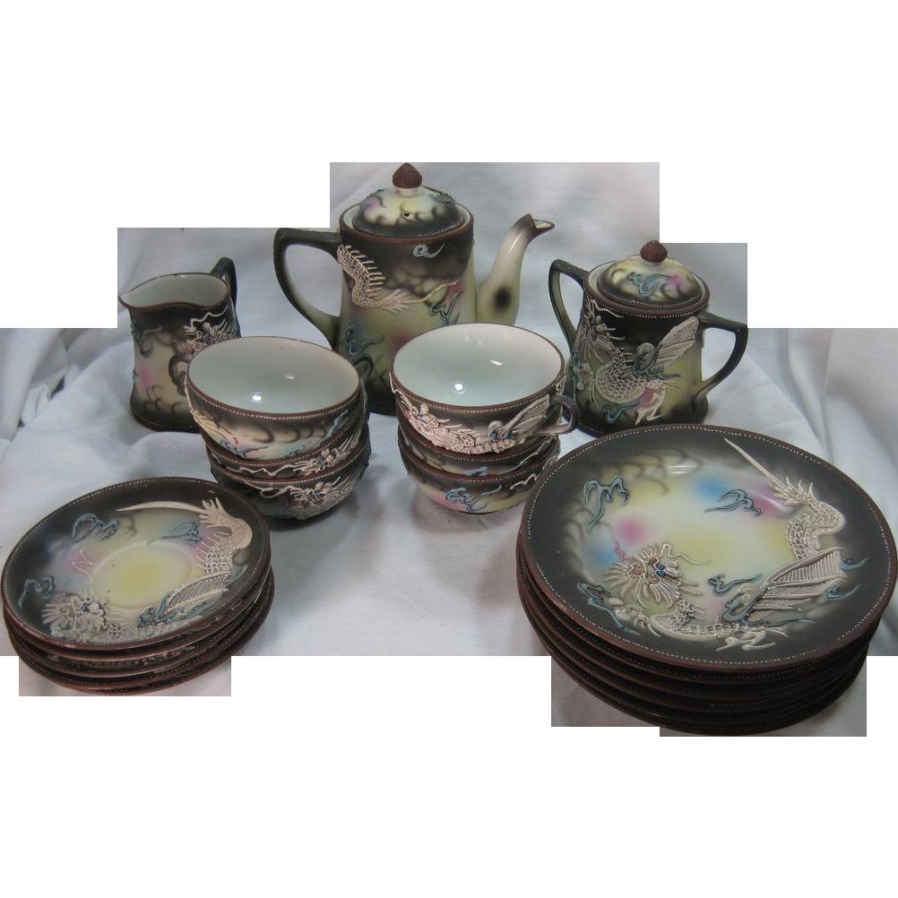 Vintage Japanese Moriage Dragonware Tea Set Dragon Motif