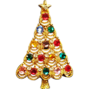Vintage Eisenburg Ice Gold Tone Rhinestone Christmas Tree Pin Brooch