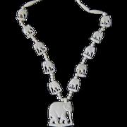 Vintage Boho Faux Ivory Elephant Beaded Necklace