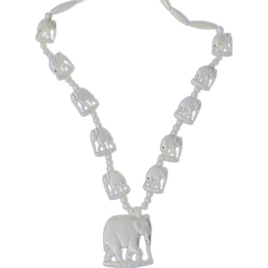 Vintage Boho Faux Ivory Elephant Beaded Necklace