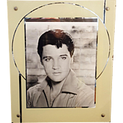 Vintage Creme & Silver Art Deco Reverse Painted Metallic Picture Frame With Elvis Photo Holds 9x7 Photograph