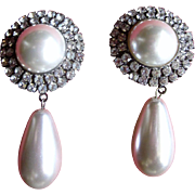 Vintage Faux Pearl and Rhinestone Drop Earrings-Bridal Earrings:  Clip on Earrings