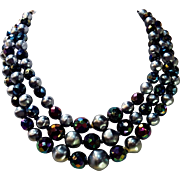 Vintage Faux Triple Strand Silver & Aurora Borealis AB Black Rainbow Costume Necklace