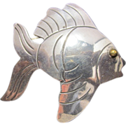 Vintage Mexican Sterling Fish Brooch