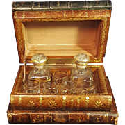 Antique French Book Bar Tantalus Set Hidden Bar Treasure Chest Bar With Shot Glasses And Decanters